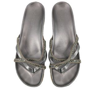 A. Giannetti Metallic Gem Embellished Sandal 9W
